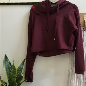 ✿Embroidery Floral Patch, Maroon Cropped Hoodie ✿